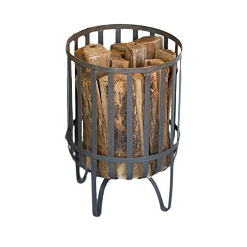 MY SWANKY HOME Rustic Round Gray Metal Log Basket Bin...