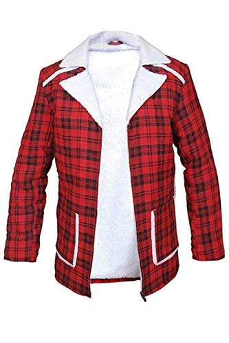 Flannel Checkered Jacket Faux Fur Shearling Red Coat (l)