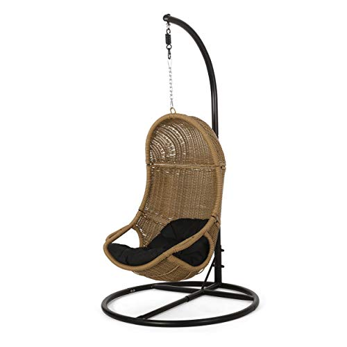 Christopher Knight Homemarcus Outdoor Wicker Hanging Chair With Stand Light Brown And Dark Gray Dailymail