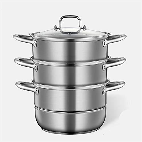 Utensilios de cocina al vapor Pottín/vapor de 3 capas/vapor, olla de sopa de acero inoxidable 304, grueso y doble inferior, (28/30/32 cm) para cocina de gas/cocina de inducción Charola para horn