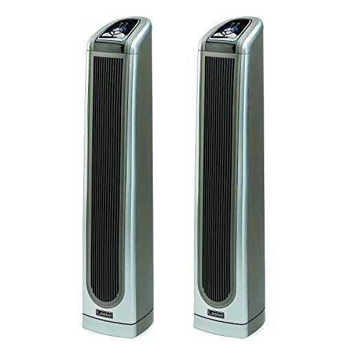 Lasko 34 Inch Electronic Oscillating Ceramic Tower Heater with Remote (2 Pack)