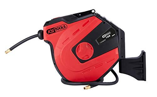 KS Tools 515.3440 Enrouleur air et EAU 3/8'' Avec tuyau ø10mm, raccord 1/4 Automatischer Druckluftschlauch-Aufroller, Ø 10mm x 15m, weiß
