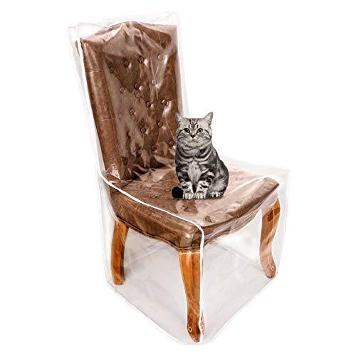 Fundas de plástico para silla de comedor contra el polvo, los derrames, el pelo de animales, las garras de animales, impermeables, transparentes