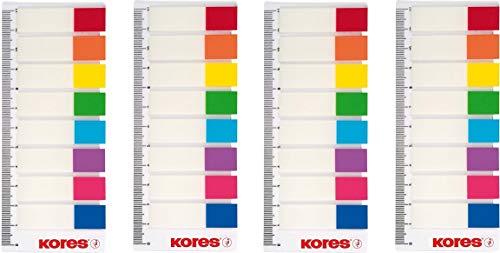 KORES NOTES Pagemarker mit Lineal 12x45mm, 8 Farben transparent, Haftstreifen Notes Index (4 Päckchen)