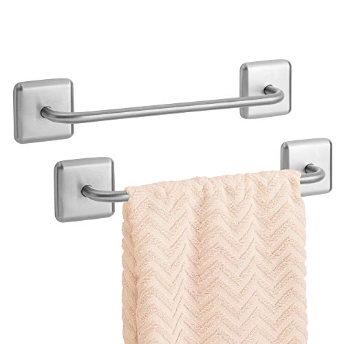 mDesign Metal Bathroom Storage Towel Bar with Strong Self Adhesive - Holder Rack for Hanging Washcloths, Hand, Face Towels in Main or Guest Powder Rooms - 2 Pack - Brushed