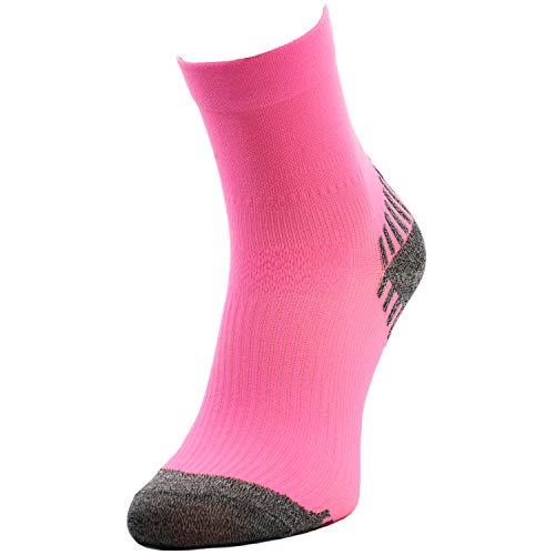 Comodo - Laufsocken Damen rutschfest, 1 Paar Thermo Sportsocken kurz, Bunte Frauen und Mädchen Sneaker Socken für langes Laufen, Joggen & Fitness, farbige Kurzsocken RUN6 gr 39-42 neon, pink