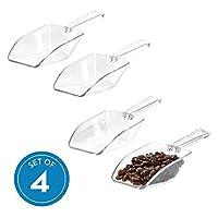 iDesign Set utensili cucina, Sessola alimentare grande da un terzo di tazza, Set da 4 cucchiaio dosatore in plastica per farina, spezie e altri alimenti, trasparente