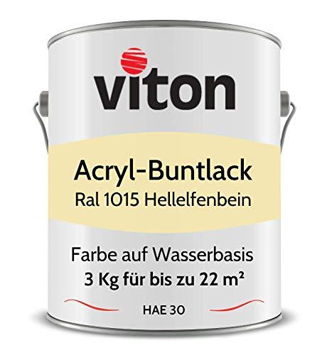Buntlack von Viton - 3 Kg Beige - Seidenmatt - Wetterfest für Außen und Innen - 2in1 Grundierung & Lack - HAE 30 - Nachhaltige Farbe auf Wasserbasis für Holz, Metall & Stein - RAL 1015 Hellelfenbein