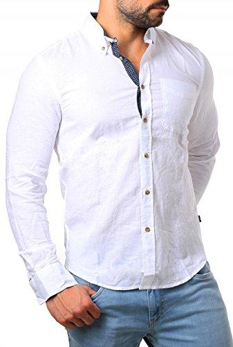 CARISMA Herren Leinen Baumwoll Mix Hemd mit Kontrast Knopfleiste & Manchette Langarm körperbetont Slim Fit Button Down, Grösse:L, Farbe:Weiß