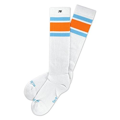 Spirit of 76 Endless Summer Hi | Hohe Retro Socken mit Streifen Weiß, Türkis & Oranges gestreift | stylische Unisex Kniestrümpfe Größe L (43-46)