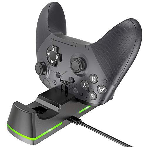 Preisvergleich Produktbild BENGOO Ladestation für Nintendo Switch Pro Controller,  Ladestation für Nintendo Switch mit austauschbarem Ladeanschluss & Typ C USB-Ladekabel Schwarz