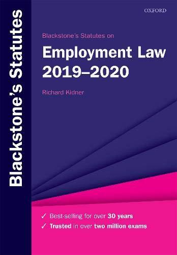 Blackstone's Statutes on Employment Law 2019-2020