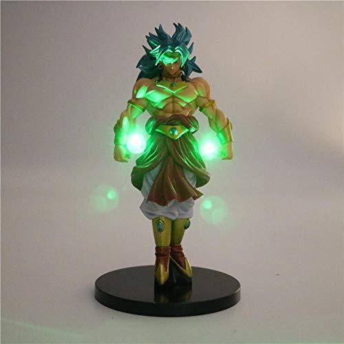 Yvonnezhang Dragon Ball Z Broly Súper Saiyan Power Up Iluminación Led Anime Dragon Ball Z Luz de Noche DBZ Broli Colección Modelo Juguete Estatuilla Verde