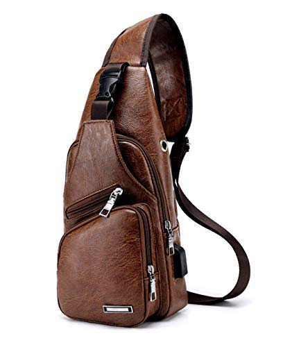 HODISY PU Leather Sling Bags Shoulder Backpack Men Multipurpose Crossbody Chest Travel Bag for Hiking,Cycling (Light Brown)