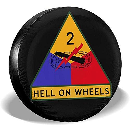 WCHAO Army 2nd Armored Division Logo Cubierta de llanta de refacción Impermeable A Prueba de Polvo Ajuste para Muchos vehículos