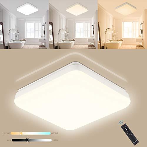 Oeegoo LED Deckenleuchte Dimmbar 24W, Lichtfarbe Und Helligkeit Einstellbar, IP54 LED Deckenlampe Mit Fernbedienung Für Schlafzimmer, Kinderzimmer, Badezimmer, Essenzimmer, Hotel Geeignet.