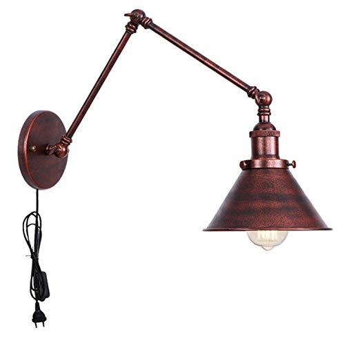 QEGY E27 Vintage Lámpara de Pared con BrazoLargo y Interruptor, Retro Industrial Lámpara de Pared Dormitorio con Cable y Enchufe, Color Oxido Luz de Pared Pasillos Cocina Iluminación,D