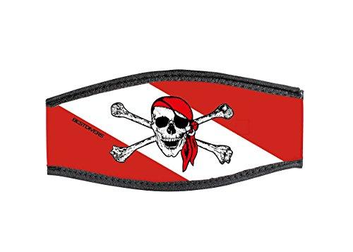 Best divers Correa Máscara de Neopreno, Doble Velcro, Jolly Roger