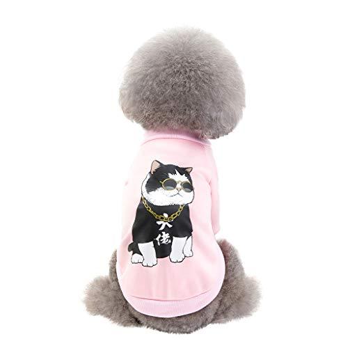 BBring Katze Muster Haustier T-Shirt für Katzen Hunde, Haustier Hunde Katze Pullis Winter Nette dicken Katze Hunde Haustier Kleidung für Hündchen Kätzchen (M, Rosa)
