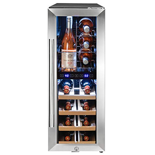 AKDY 34.75' Freestanding Compressor Wine Cooler Black Silver - Stainless Steel - Double Paned Glass - 16 Bottle