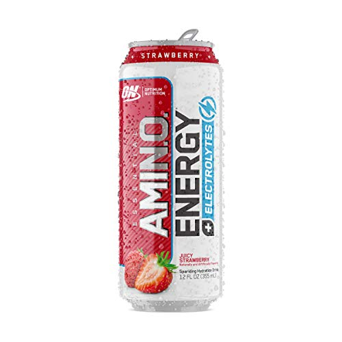 OPTIMUM NUTRITION ESSENTIAL AMINO ENERGY Plus Electrolytes Sparkling Hydration Drink, Juicy Strawberry, Keto Friendly BCAAs, 12 Count
