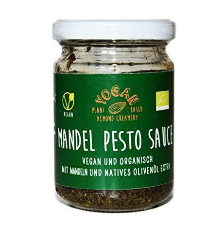 Yogan BIO Mandel Pesto - 1x 120g Glas - vegetarischer veganer Mandel Pesto Saucen Ersatz zum Nudelgericht, Kartoffeln, Antipasti, Grillgemüse, Salate Pesto Alternative sojafrei vegan glutenfrei