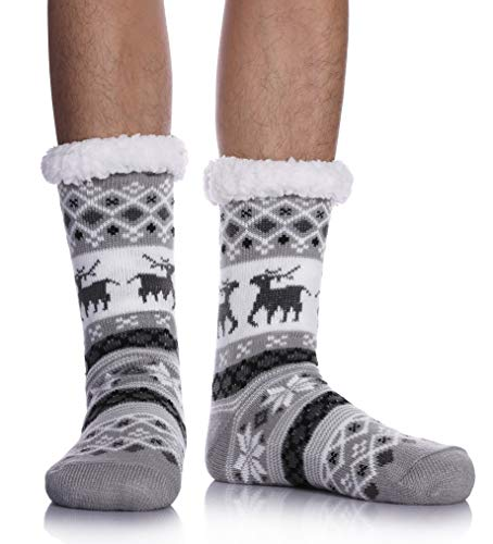 Mens Fuzzy Slipper Socks Animal Thick Cosy Warm Soft Fleece lined Thermal Winter Non Slip Socks (Light Gray Deer)