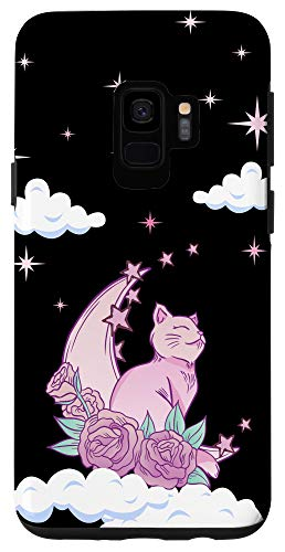 Galaxy S9 Pink Magical Cat Moon Roses Spiritual Kawaii Pastel Goth Case