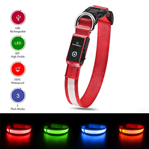 MASBRILL Wiederaufladbar LED Hund Halskette Halsband perfekt für Haustiere Hund - Wasserdicht (L, Rot)