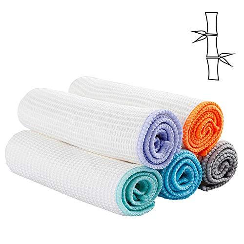 Muxel Bambus Putztuch Reinigungstuch Spültuch und Allzwecktuch die saugstarke Alternative zu Mikrofaser Sauberkeit im ganzen Haus 5 Tücher