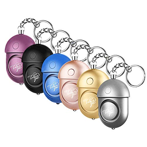 WOSPORTS Safesound Personal Alarm, Safety Alarm Keychain Powerful 130DB/6 Pieces Emergency/SOS Alarm with LED Self-Defense Security Alarm for Women Kids and Elders