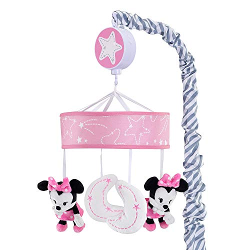 Lambs & Ivy Disney Baby Minnie Mouse Musical Crib Mobile, Pink/Gray