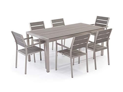 Beliani Juego de Muebles de jardín Aluminio Gris–Mesa 180cm–6sillas–polywood–vernio
