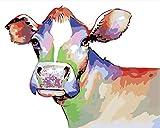 FGHJSF Pintar por numerosVaca Animal Color Pintura al óleo de DIY por Números con Pinceles y Pinturas para Adultos Niños Principiantes Lienzo Pintura al óleo - 40 X 50 cm (Sin Marco)
