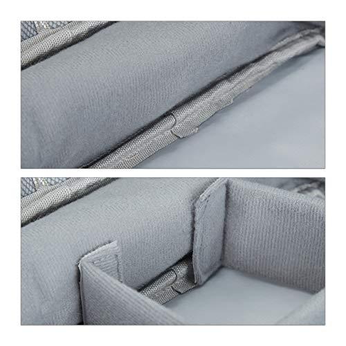 Relaxdays Kabeltasche, Organizer für Ladekabel, USB Stick, PC Zubehör, Stoff, Kabelaufbewahrung HxBxT: 11x25x20 cm, grau, 1 Stück