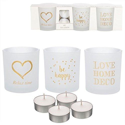 Dcasa - Pack de 3 candeles con 4 Velas de te Frases romanticos