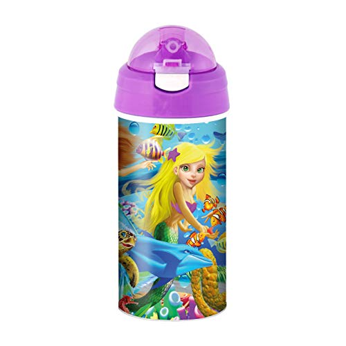 3D LiveLife Trinkflasche - Meerjungfrau Magie von Deluxebase. 3D Linsenförmige Ozean Wasserflasche mit Stroh. 600 ml kinder Trinkflasche mit original kunstwerk von bekannt Künstler, Michael Searle