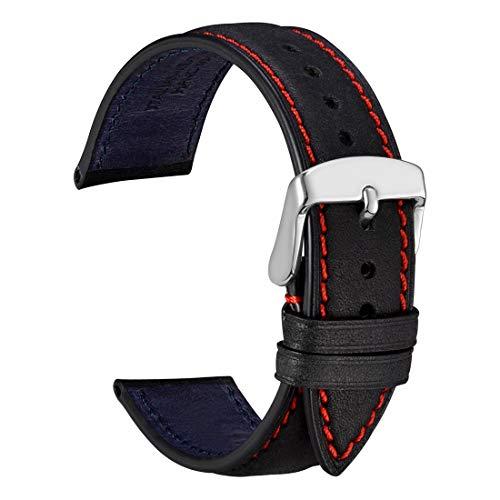 WOCCI 22mm Correa Reloj de Piel de Nobuck con Hebilla Plata de Acero Inoxidable, Recambio Unisex (Negro)