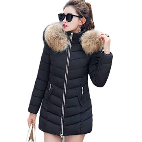 Yuyudou dames winter gewatteerde jas warm dikke slim fit parka jas bontkraag capuchon mantel zwart/rood