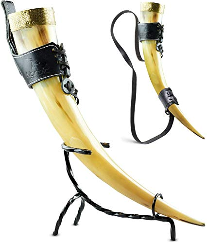Viking Drinking Horn (18oz, Handcrafted, Natural Horn) - NO HORN SMELL - Iron Stand, Leather Belt Frog & Shoulder Strap Included (Smooth)
