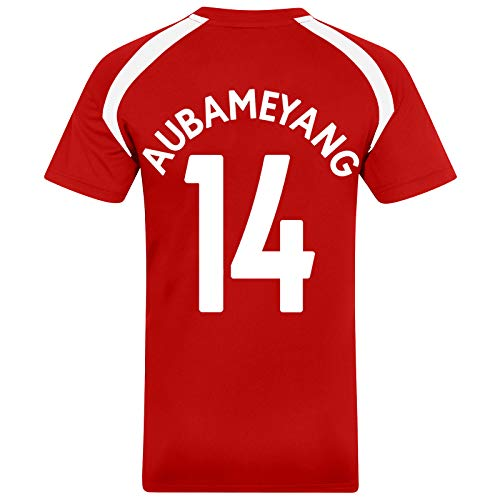 Arsenal FC - Herren Trainingstrikot aus Polyester - Offizielles Merchandise - Geschenk für Fußballfans - Rot - Aubameyang 14 - S