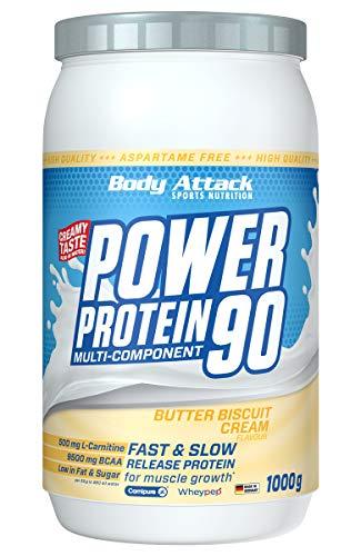 Body Attack Power Protein 90, Butter Biscuit, 1 kg, 5K Eiweißpulver mit Whey-Protein, L-Carnitin und BCAA für Muskelaufbau und Fitness