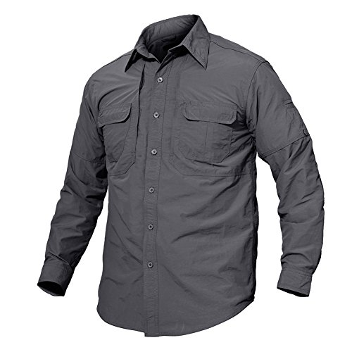 TACVASEN Chemise Manches Longues pour Hommes Protection UV Chemise Décontractée Chemise Légère à Séchage Rapide Long Sleeve Outdoor Workout Shirts Camping Fishing Hiking Chemise de Loisirs Gris Grey