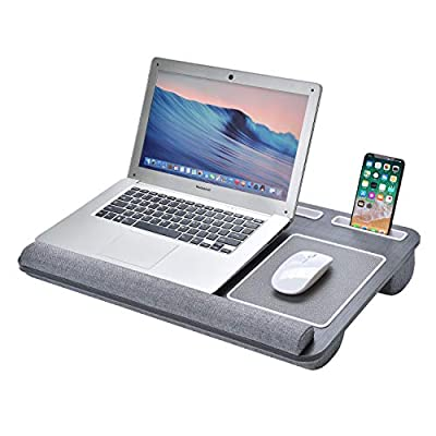 Harcas Laptop Tray Stand with Built in Cushion for Comfort. Unique Design Including Mouse Pad, Wrist Cushion for Comfort, Tablet, Phone and Pen Holder. Perfect for 15.6-inch Laptops (Black)