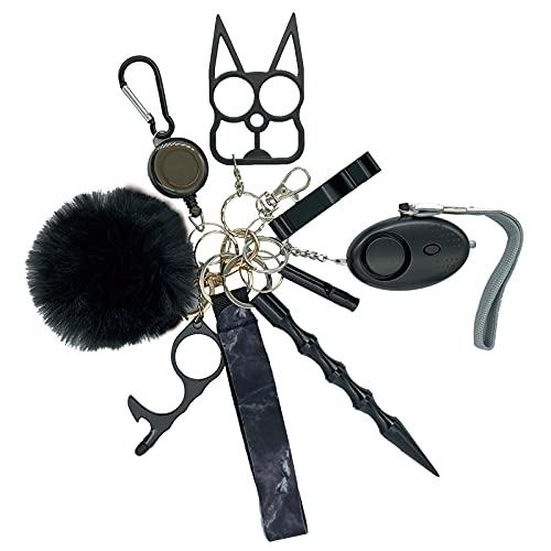Self Defense Keychain for Women - Women Safety Keychain with Alarm - Wristlet - Pompom - Key Rings Telescopic Buckle - Whistle - Window Breaker