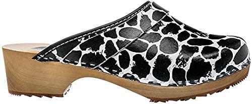 ESTRO Zuecos De Madera para Mujer Calzado Sanitario De Trabajo CDL06 (Blanco/Negro, Numeric_41)