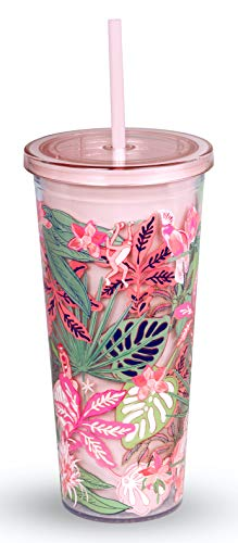 Vera Bradley Acrylic Insulated Travel Tumbler with Reusable Straw, 24 Ounce Cup with Lid, Rain Forest Canopy Pink