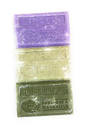 Label Provence-lot de savons 3 savons Bio de Marseille à l'huile d'olive-romarin/lilas/huile d'olive -3x125g