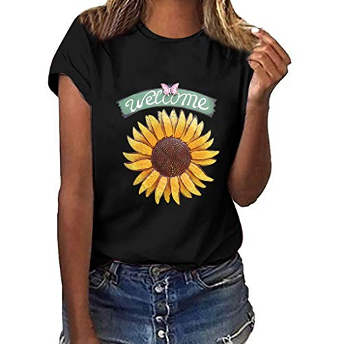 Buy Startview Women Girls Plus Size Sunflower Print T-Shirt Short Sleeved Casual Blouse Tops (Black,...