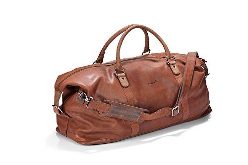 Packenger Leder Weekender - Floki -  Cognac, 45 Liter, Reise-Sport Umhängetasche, 64 cm, Vollrindsleder...